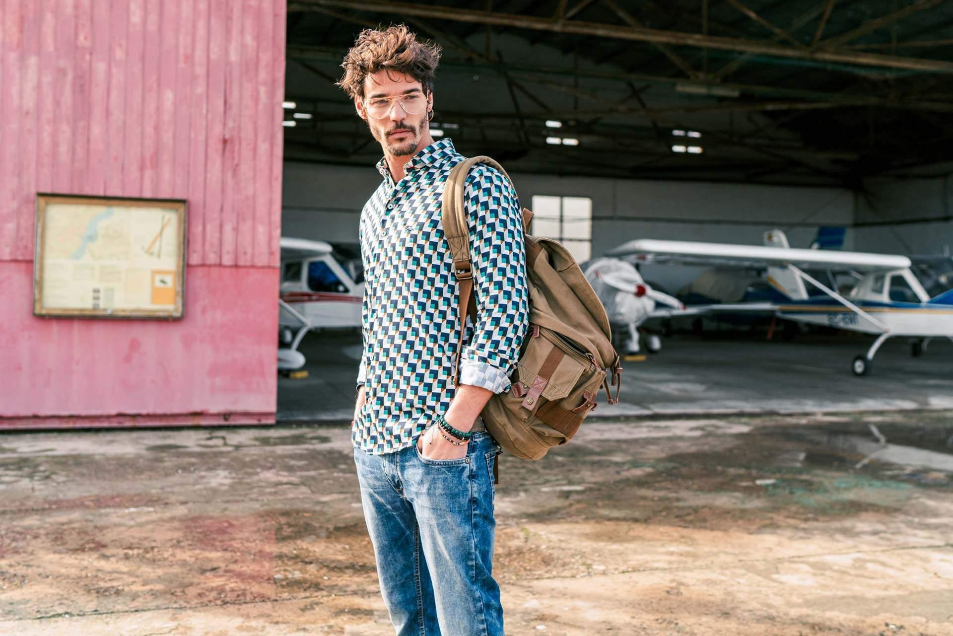 Camisa slim fit cuadros 3d vintage